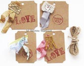 Gift tags, one of a kind, handmade, set of 4, Love and Thank You