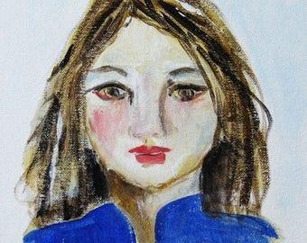 Fine art, acrylic on canvas board, portrait, young woman