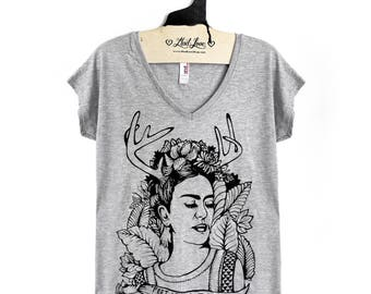 Small-Heather Gray Tri-Blend  V-neck Tee with Frida Screen Print
