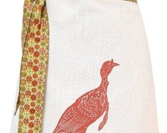 LOVE SALE Organic block print turkey apron