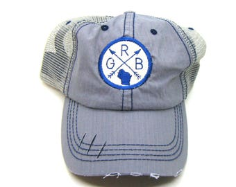 Clearance - Sale - Gift - Gracie Designs Hat - Green Bay Wisconsin arrow patch on distressed Trucker