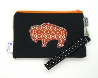 Clearance - Sale - Gift - Gracie Designs Wristlet - Orange bison or Buffalo