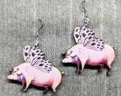 Flying Pig Earrings / Laser Cut Wood Earrings / Animal Earrings / When Pigs Fly / Pun Earrings / Pig Humor / Nickel Free / Animal Jewelry