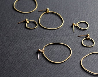 NEW Topo Earrings 5 - mismatched earrings small hoop asymmetrical large gold hoop dainty organic shape freeform circle brass funky jewelry