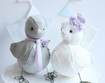 Love Birds cake topper - Bird wedding cake topper  - Lavender - Wedding Bird cake topper - Fabric birds - Customized Order