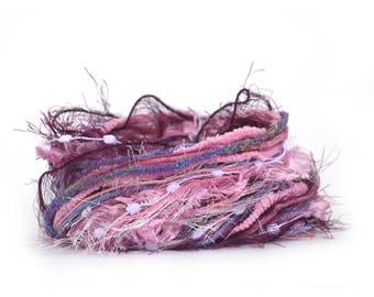 Inspiration Pack of assorted cut yarn lengths, Buddleia, 10 yarns each 3 metres, lilac purple pale pink, craft supplies, trim scrap yarns