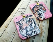 Tiger Hearts - hand-painted big cat charm earrings