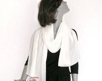 "Ivory Shawl Luxury Crepe Silk 16mm Hand Hemmed Wrap Evening Coverup, Petite Silk Wedding Shawl, Artisan Handmade, 20x64"", Artinsilk."