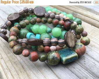 MEMORIAL DAY SALE- Beaded Stack Bracelets-Glass and Wood-Cuff Accessories-Boho Style-Marine Life
