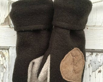 SALE- Brown Wool Mittens-Leaf Simplicity-Upcycled Fashion