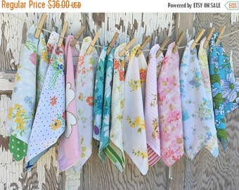 SALE- Floral Cloth Napkins-Vintage Flowers-Upcycled Linens