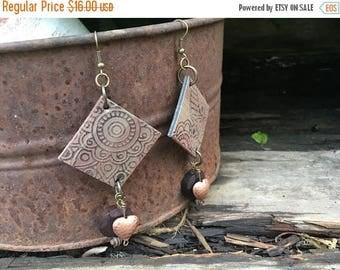 RESERVED-CRAZY SALE- Embossed Leather Earrings-Earthy Floral-Beaded-Boho Earrings
