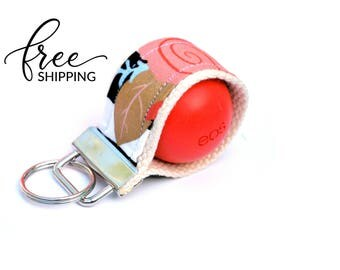 LippyLoop™ EOS Holder Keychain, Black White Stripe with Coral Mint Gold Flowers  | Free Shipping