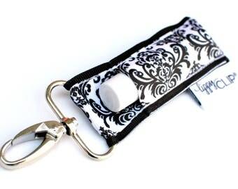 LippyClip® Lip Balm Holder for Chapstick, Burt's Bees, etc. |  Clip-On Keychain | Black and White Damask