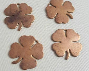 Vintage brass lucky clover charm