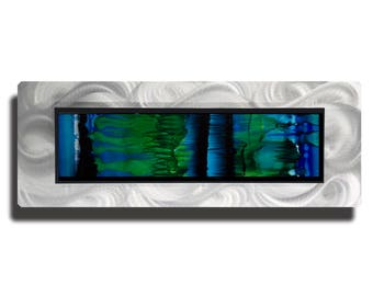Colorful Handmade Painting Accent, Modern Metal Art In Blue & Green, Contemporary Wall Decor, One of a Kind Artwork - JC 516B by Jon Allen