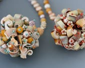 Fringe Necklace Bead Collector Series: Beaches. OOAK and unusual necklace pendant hand beaded with pearl, shell, glass.