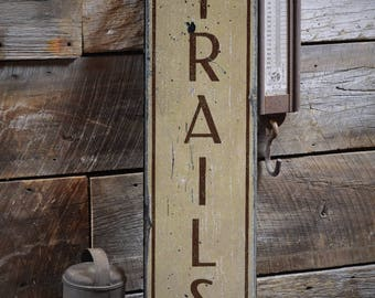 Trails Wood Sign, Rustic Trail Sign, Trail Lover Gift, Hiking Sign, Hiker Gift, Wood Trail Decor, HandMade Vintage Wooden Sign ENS1001859