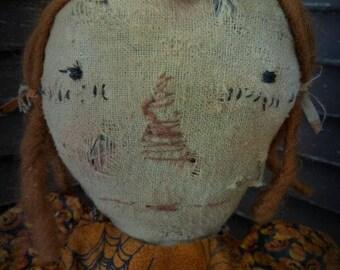 MUSTARD SEED ORIGINALS, Raggedy Ann, Pumpkin, Fall, Halloween, Autumn, Doll by Sharon Stevens
