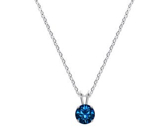 Swarovski Crystal Solitaire Necklace Sterling Silver Pendant Capri Blue or CHOICE OF COLOURS