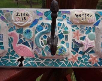 Mosaic Wall coat rack hanger BeachShells Flamingo & Starfish