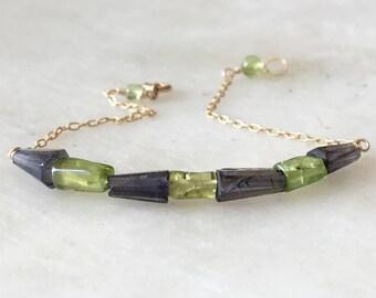 Dainty Martini Bracelet, Peridot and Iolite Bracelet, Gemstones Bracelet, Beads Bracelets, Tennis Bracelet, Gemstones Bracelet