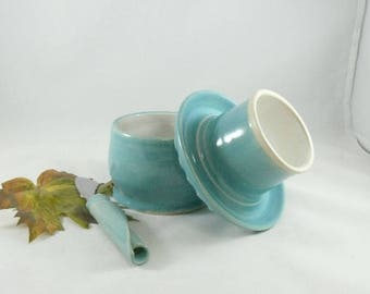 Large French Butter Crock in robin's egg blue MADE TO ORDER pottery and ceramics,  kitchen gadget ceramic  butter keeper dish
