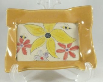 Ceramic Snack Plate, Square Dish, Appetizer Tray, Pottery Tapas Dish, Bread plate, trinket bowl, spoon rest, soap dish, Save the Bees 887