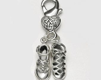 Irish Dance Shoes Clip-On Charms with Celtic Knot Heart Clasp Ghillie and Hard Shoe