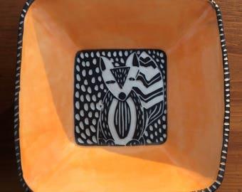 Modern Carved Porcelain Fox Dish
