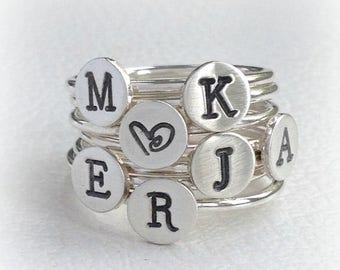 ON SALE TODAY Hand Stamped Initial Ring, Monogram Stacking Ring, Sterling Silver Ring