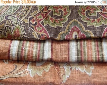 CLEARANCE - 3 pieces brown rust woven fabrics, 10 x 10 inches