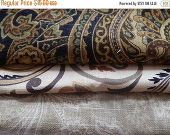 CLEARANCE - 3 pieces brown multi woven fabrics, 10 x 10 inches