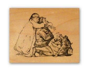 Peek-a-boo Santa mounted rubber stamp, Christmas Eve, vintage children, Crazy Mountain Stamps #7