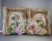 Shabby vintage upcycled floral wall art set cottage pink and lace plaster plaques