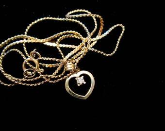 Vintage Teensy Tiny Heart and Diamond Necklace
