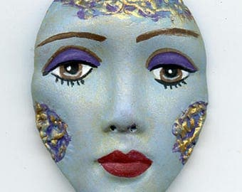 Polymer Clay One of a Kind    Blue Detailed Face Cab with texture Un Drilled BTF 1