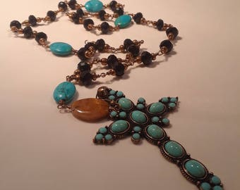 Anglican Rosary Necklace of Black Crystal and Turquoise Cross