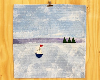Cushion cover with sailing boat applique SALE