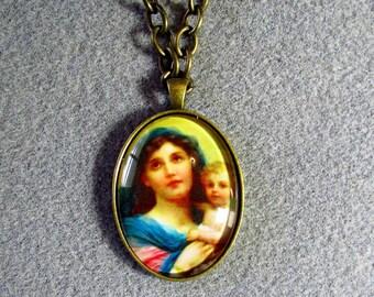 Virgin Mary Baby Jesus Handmade Catholic Glass Cameo Portrait Necklace Bronze VM1