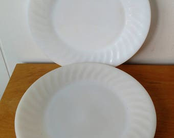 2 vintage ivory swirl Fire King plates