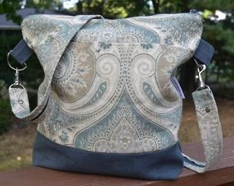 """Crossbody/ Shoulder  Bag  """"Frida Kahlo"""" in  Blue Suede and Paisley"""