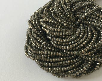 Lime Green Pyrite Beads, 13 inch Full Strand- 2.5mm Micro Faceted Lime Green Pyrite Strand, Item 429