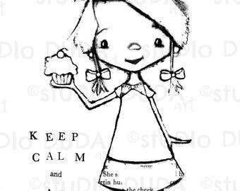 Keep Calm Cupcake 2 Versions Digital Stamp - Printable - Art to Color by STUDIODUDAART
