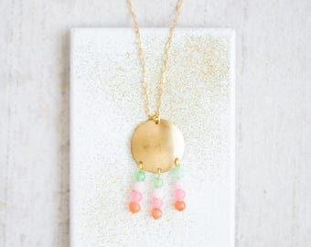 Beaded Gemstone Necklace, Tiny Gemstone Necklace, Beaded Pendant Necklace, Round Brass pendant necklace, Colorful Beaded Necklace