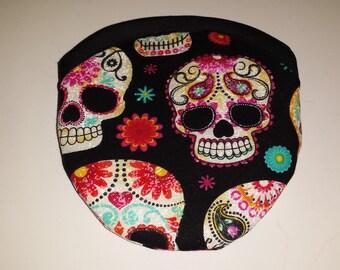 Travel Earring or Earbud USB Pouch Padded Case - Sugar Skulls dias de muertos