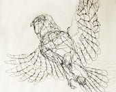 reserved for carriejantz-custom Barn Owl-Wire Drawing Sculpture Art