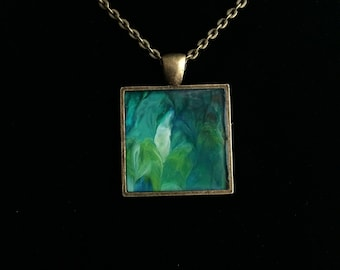 Abstract Acrylic Pendant in Greens and Blues With Antiqued Bronze Necklace