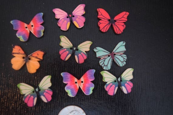 Nine Butterfly Wooden Buttons