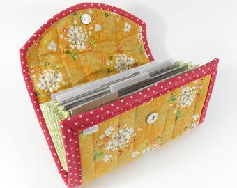 COUPON / EXPENSE / RECEIPT Organizer - Golden Yellow Floral - Coupon Organizer Coupon Holder Cash Budget